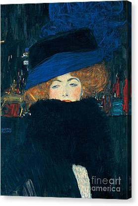 Lady With A Hat And A Feather Boa Canvas Print