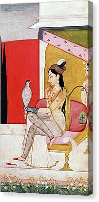 Punjab Canvas Print - Lady With A Hawk by Guler School
