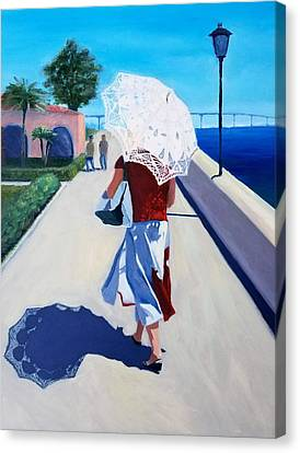 Lady With A Parasol Canvas Print