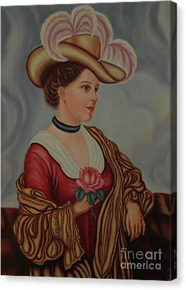 Lady With A Pink Rose Canvas Print by Margit Armbrust