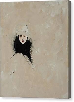 Lady With Black Fur Canvas Print by Susan Adams