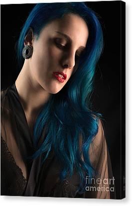 Lady With Blue Hair Canvas Print by Amanda Elwell