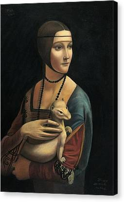 Lady With Ermine - Pastel Canvas Print by Vishvesh Tadsare