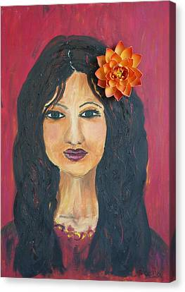 Canvas Print featuring the painting Lady With Flower by Sladjana Lazarevic
