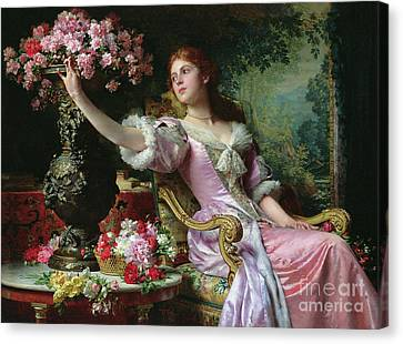 Outstretched Arm Canvas Print - Lady With Flowers by Ladislaw von Czachorski