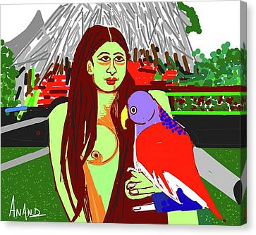 Lady With Parrot Canvas Print