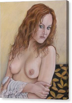 Lady With Red Hair Canvas Print by Kenneth Kelsoe