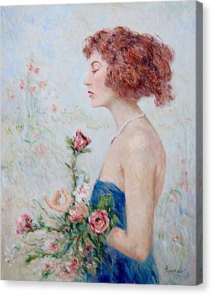 Lady With Roses  Canvas Print by Pierre Van Dijk