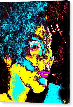 Lady With The Blue Hair Canvas Print