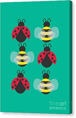 Ladybugs And Bees Canvas Print by Kourai