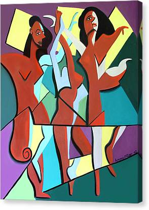 Ladys In Red Canvas Print