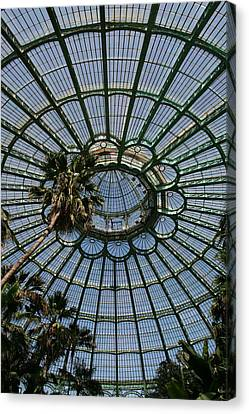 Laeken Belgium Internal View Of The Big Greenhouse Dome So Called Jardins Dhiver  Canvas Print by Jean Pol GRANDMONT