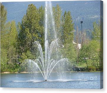Canvas Print featuring the painting Lafarge Lake Fountain by Rod Jellison