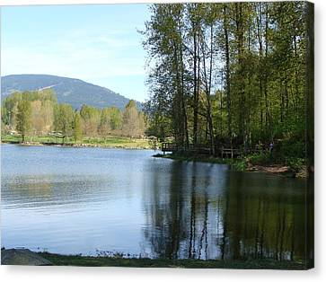 Canvas Print featuring the painting Lafarge Lake Serenity by Rod Jellison