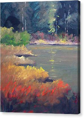 Canvas Print featuring the painting Lagoon by Nancy Merkle