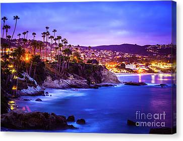 Laguna Beach California City At Night Picture Canvas Print by Paul Velgos