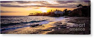 Laguna Beach California Sunset Panorama Photo Canvas Print by Paul Velgos