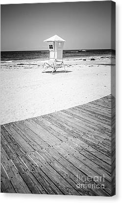Laguna Beach Lifeguard Tower Black And White Picture Canvas Print by Paul Velgos