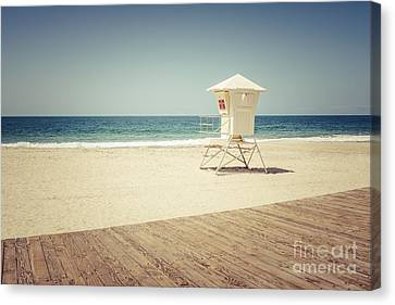 Laguna Beach Lifeguard Tower Vintage Picture Canvas Print by Paul Velgos