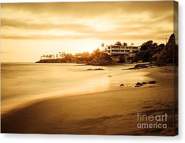 Laguna Beach Sunset At Shaw's Cove Canvas Print by Paul Velgos