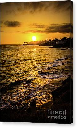 Laguna Beach Sunset Picture At Shaw's Cove Canvas Print by Paul Velgos