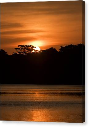 Canvas Print featuring the photograph Laguna Victoria Sunset by Ron Dubin