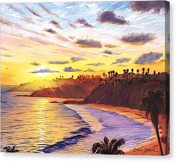 Laguna Village Sunset Canvas Print by Steve Simon