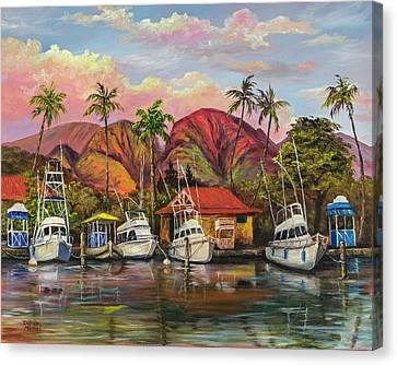 Canvas Print featuring the painting Lahaina Harbor Sunset by Darice Machel McGuire