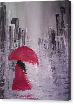 Canvas Print featuring the painting Laidy In The City Abstract Art by Sheila Mcdonald