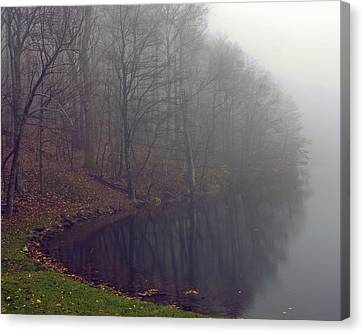 Canvas Print featuring the photograph Lake Abbott Fog by Alan Raasch
