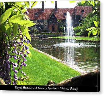 Lake And Fountain At Rhs Wisley Canvas Print by Jayne Wilson