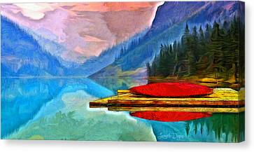 Oar Canvas Print - Lake And Mountains - Da by Leonardo Digenio