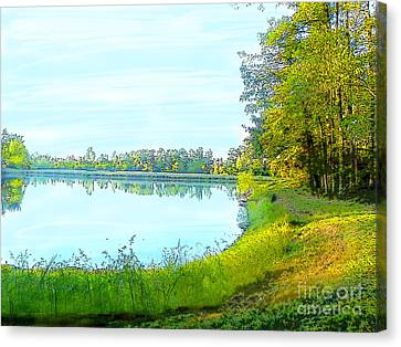 Lake And Woods Canvas Print by Craig Walters