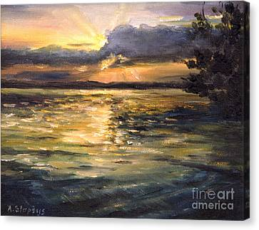 Canvas Print featuring the painting Lake by Arturas Slapsys