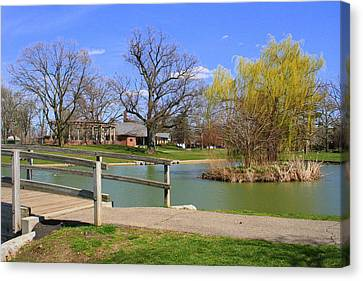 Lake At Schiller Park Canvas Print by Laurel Talabere