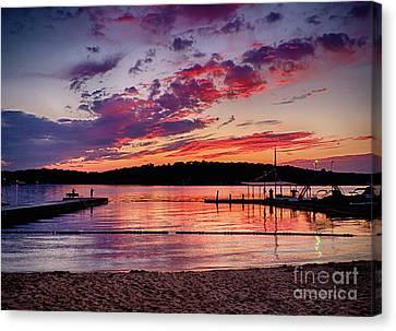 Lake Beach Sunset Canvas Print by Mark Miller