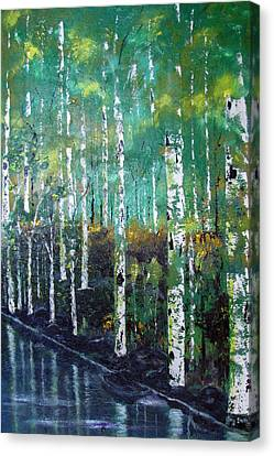 Canvas Print featuring the painting Lake Birch by Gary Smith