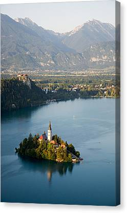 Lake Bled And Island Canvas Print by By Marin.tomic