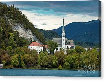 Lake Bled Church Canvas Print by Brian Jannsen