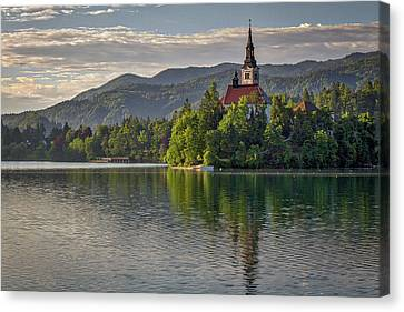 Canvas Print featuring the photograph Lake Bled Morning #2 - Slovenia by Stuart Litoff