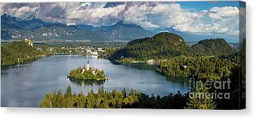 Canvas Print featuring the photograph Lake Bled Pano by Brian Jannsen