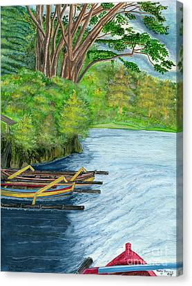 Canvas Print featuring the painting Lake Bratan Boats Bali Indonesia by Melly Terpening