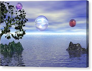 Canvas Print featuring the digital art Lake Bubble Planet by Kim Prowse