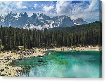 Lake Carezza And Mountain Range Canvas Print