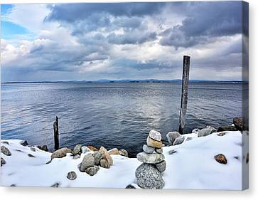 Lake Champlain During Winter Canvas Print by Brendan Reals