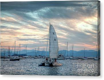 Canvas Print featuring the photograph Lake Champlain Sunset Sail by Susan Cole Kelly