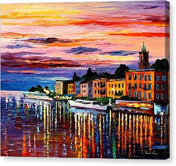Lake Como - Bellagio  Canvas Print by Leonid Afremov