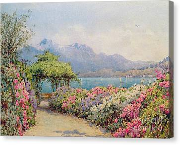 Lake Como From The Villa Carlotta Canvas Print by Ernest Arthur Rowe