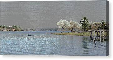 Canvas Print featuring the digital art Lake Conroe View by Ellen Barron O'Reilly