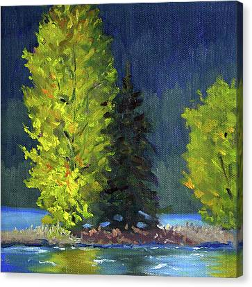 Canvas Print featuring the painting Lake Cushman Trees by Nancy Merkle